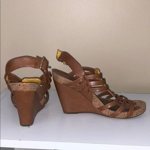 BCBGENERATION Brown Leather Sandal Wedges